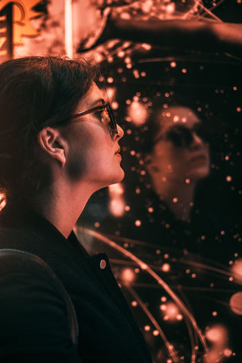 Judit Cinematic Photography Colors Portrait Of A Woman Cinema Cinematic Look Color Colorfull Eyeglasses  Eyeglasses  Lifestyles Lightroom Night Portrait Vscocam Vscocamphotos