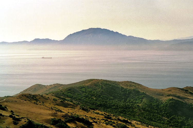 The strait of gibraltar and the mountains of africa in the background