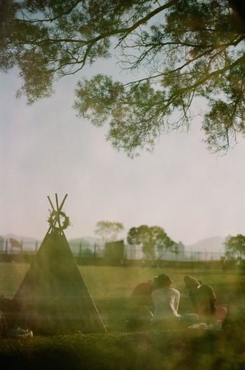 Agriculture Beauty In Nature Camping Campinglife Day Doubleexposure Field Film Photography Grass Growth Landscape Nature No People Outdoors Plant Sky Tent Tree