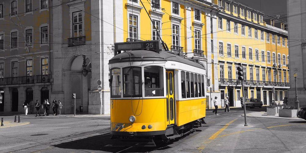 Yellow tram in