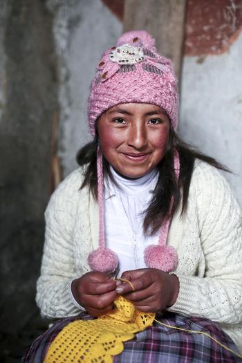 Peru Hat With Pompom Peruvian Peruvian Culture Peruvian Girl Peruvian Woman Pink Hat Quechua Quechua Culture Quechua Woman South America