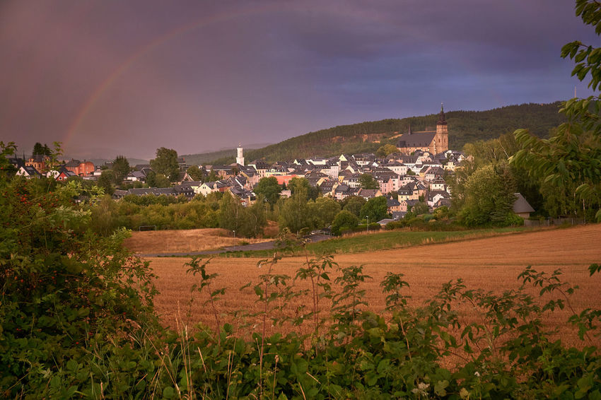 Erzgebirge Regenbogen Schneeberg St. Wolfgangskirche Architecture Beauty In Nature Building Building Exterior Built Structure Cloud - Sky Day Environment Growth House Land Landscape Mountain Nature No People Outdoors Plant Residential District Scenics - Nature Sky Sony A6000 TOWNSCAPE Tree