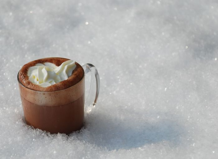 Close-Up Of Hot Chocolate On Snow Covered Field