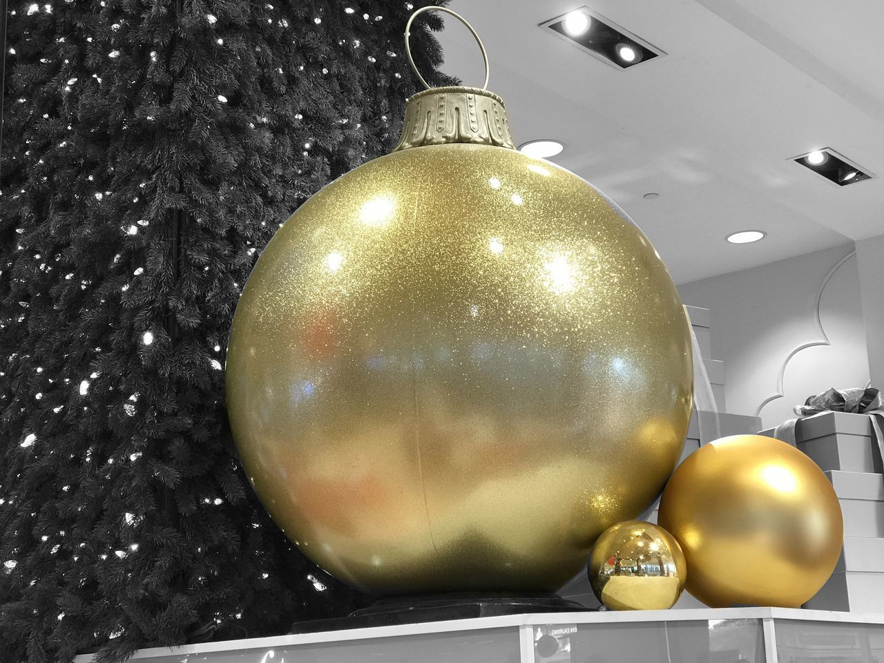 gold colored, metal, illuminated, indoors, shiny, christmas ornament, bauble, christmas decoration, golden color, no people, low angle view, hanging, close-up, night