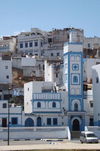 Architecture Blue Building Exterior Built Structure City Clear Sky Day Maroc Mosquee No People Outdoors Religion Residential Building Sky Sunlight Town Travel Destinations Ville Ancienne Whitewashed