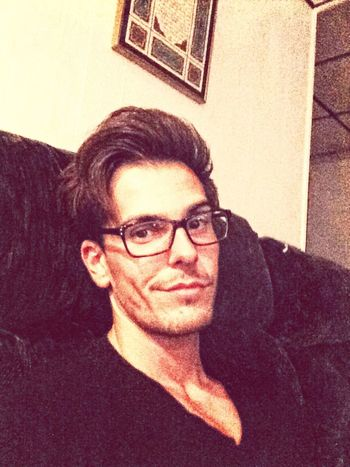 Model Selfie Portrait reading before bed like an old man