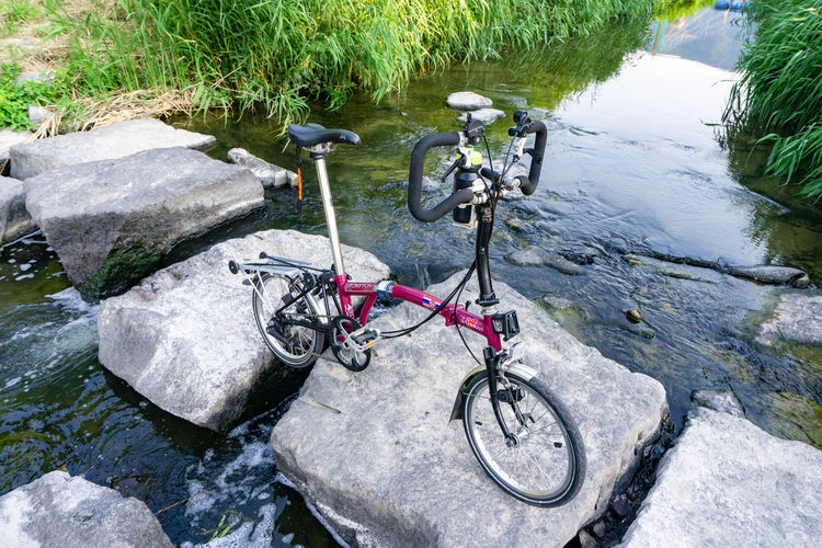 High angle view of bicycle by river