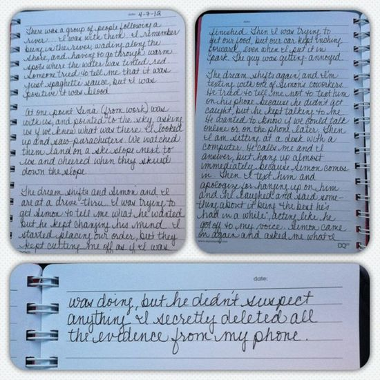 After talking to my therapist about the vividness of my dreams, she suggested I start a dream journal. This, my friends, is one dream. ONE DREAM. Ugh Thisiswhyimsotired Picframe