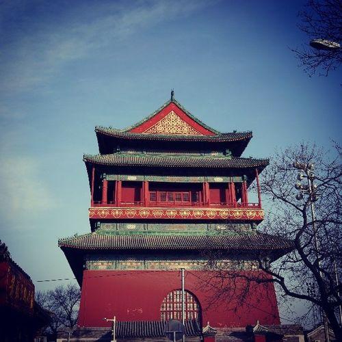 鼓楼,蓝天红墙,北京的味道。