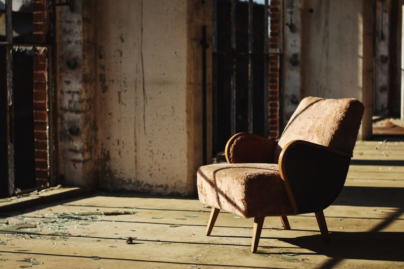 Chair Seat Sunlight Built Structure Absence No People Architecture Day Shadow Empty Building Armchair Abandoned Relaxation