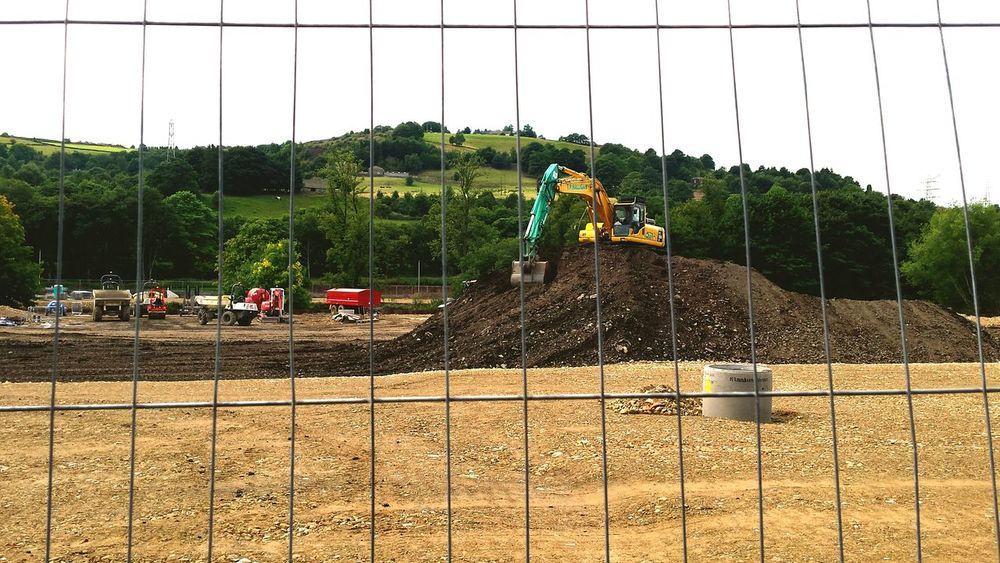 Protecting Where We Play Foundations Diggers Mud Yorkshire Countryside Copley Landscape Developing Workmen