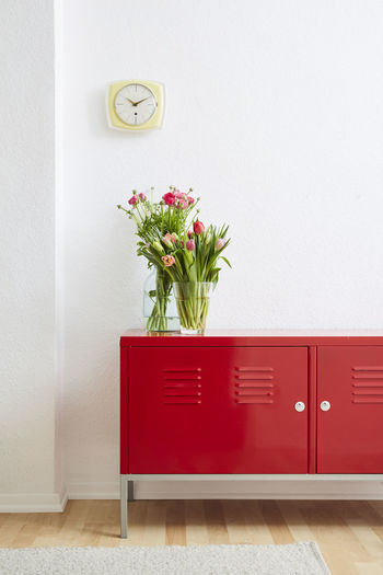 Red potted plant on wall at home