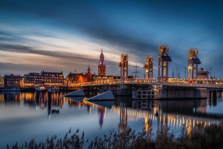 'Citybridge' - Kampen | Netherlands. Water Architecture Sky Reflection Built Structure Building Exterior Cloud - Sky City Nature Illuminated River Dusk Nautical Vessel No People Transportation Waterfront Outdoors Building Harbor Cityscape Kampen Netherlands Bridge Long Exposure
