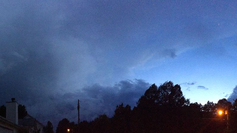 An approaching thunderstorm just after sunset. Panoramic Thunderstorm Storm Clouds Clouds And Sky