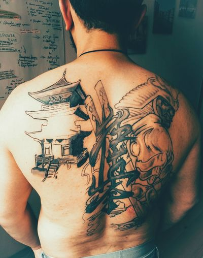 Samurai Japan Tattoo One Person FighterTattoo
