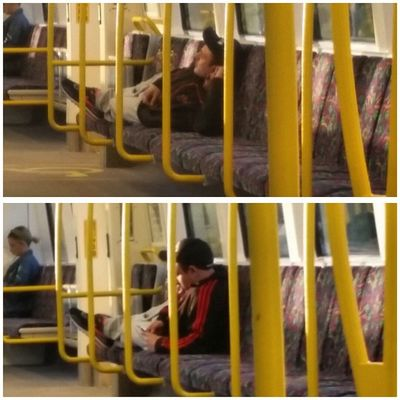 """Thisguy taking Manspreading to a whole new level... """"fuck it, ima just lay down' Transperth Trainlife manspread laydown"""
