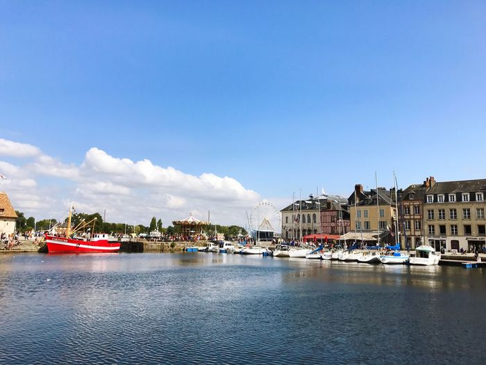 Honfleur Harbour Ship Architecture Nautical Vessel Built Structure Building Exterior Transportation Mode Of Transport Water Boat Harbor Sky House Waterfront Residential Building Yacht Day Moored Cloud - Sky Outdoors No People Travel Destinations