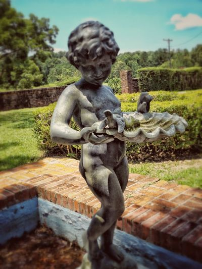 Water Fountain Statue Cherub Old Antique Beautiful Showcase June