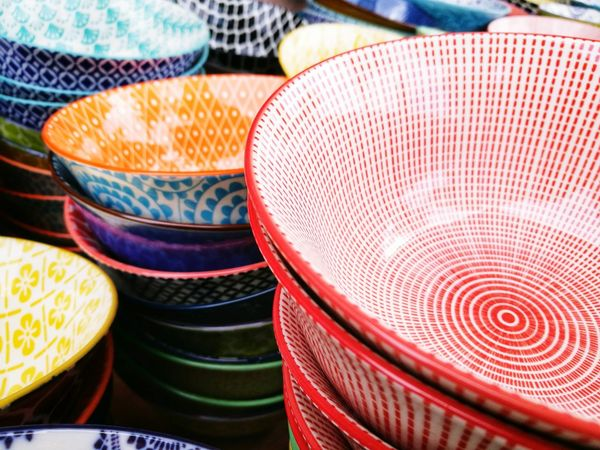Pattern No People Day Outdoors Close-up Retail  Bowl Plates Ceramic Plate Ceramic Bowl Colourful Plate