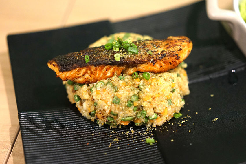 grilled salmon fried rice Main Course Fried Rice Black Plate Grilled Salmon Japanese Food Chives Crispy Salmon Skin Fried Rice Fried Rice With Seafood Garlic Fried Rice Healthy Eating Salmon Teriyaki Salmon Woonhong Salmon - Seafood Rice - Food Staple