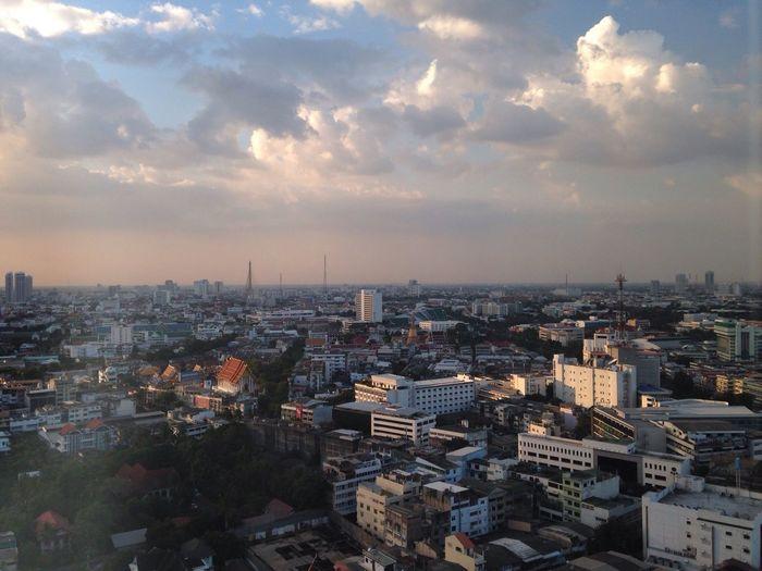 Dramatic sky over city