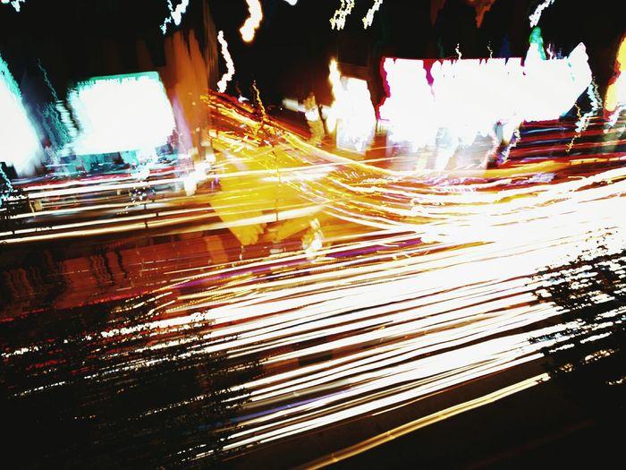 Busy road at night Light Trail Night Illuminated Light Effect