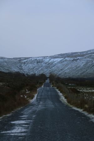 Dark Lonely Mountain No People Road Snow
