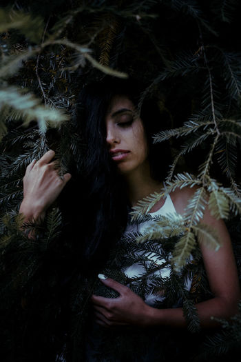 Beautiful Woman Black Background Close-up Front View Leisure Activity Lifestyles Nature Night One Person Outdoors Portrait Portrait Of A Woman Real People Standing The Portraitist - 2017 EyeEm Awards Tree Witch Women Young Adult Young Women
