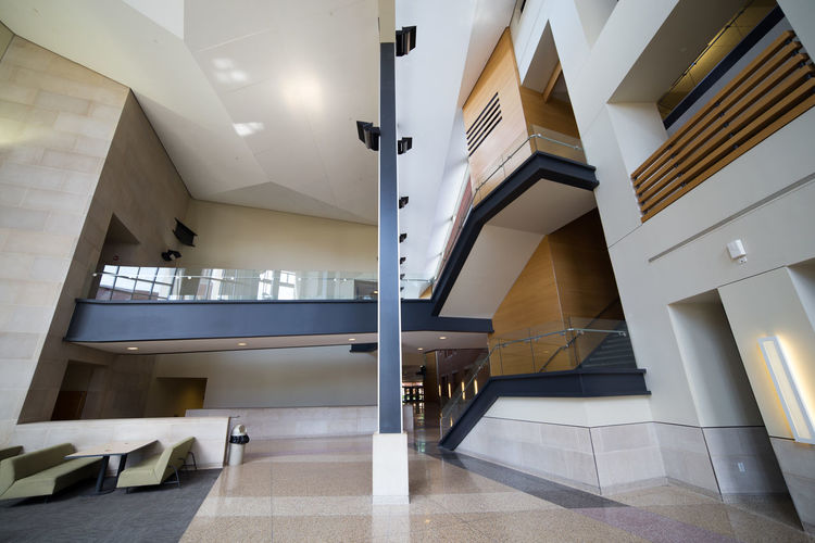 David Letterman Building Lobby at Ball State University Architectural Column Architectural Feature Architecture Architecture_collection Ball State Bsu Building Built Structure Campus College Empty Interior Design Low Angle View Modern No People University