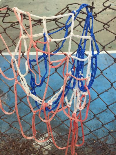 High angle view of ropes on playground