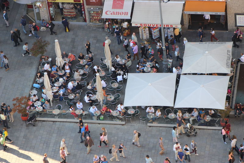 Dining Vienna Foodcourt City From Above Tiny People Tiny People In Big Places Cafe Geometry Order Circles City Life Street Dining Street Life Buzy Street People Walking  Rushing People