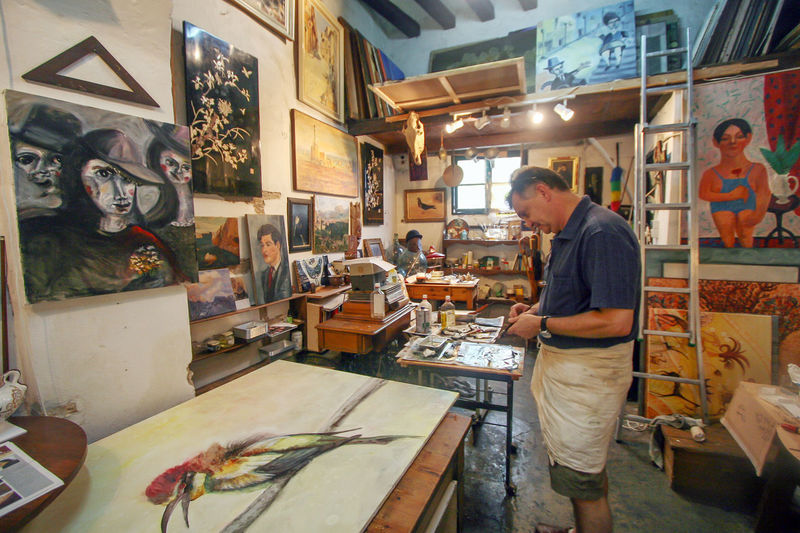 Artist Images Mallorca Adult Art And Craft Artist Artist's Studio Day Indoors  Men Mid Adult Occupation One Person Only Men Painter People Real People Standing Work Tool Working Workshop