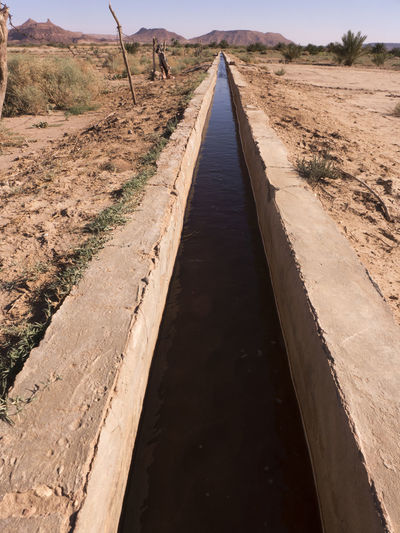 This water in the irrigation ditch soaks the gardens, plantings and date palms in the oasis. The Way Forward Direction Diminishing Perspective Landscape Environment Arid Climate Tranquil Scene Water Irrigation System Ditch Oasis Desert Morocco Sahara Gutter Transportation Rural Scene Agriculture Canal Transportation vanishing point Footpath Land Outdoors Non-urban Scene