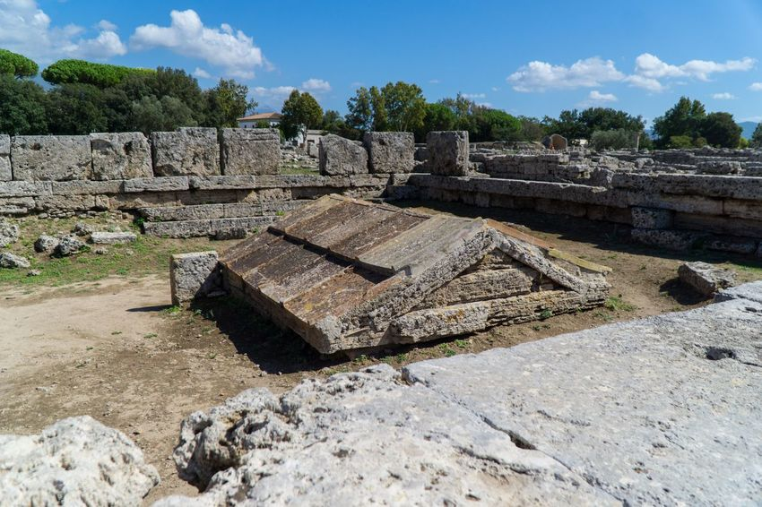 Paestum Roman ruins, Italy Temple Roman Ruins Architecture Sunlight Nature Day Sky History Built Structure Cloud - Sky Outdoors Old Ruin Ancient Old No People Tree Plant Building Exterior The Past Solid Ruined Land