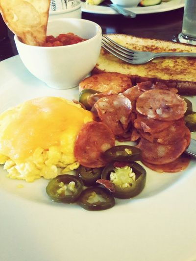 My breakfast from this morning :) i could have this all the time.. nom nom nomm Breakfast Food Porn Chorizo Spicy Yummy