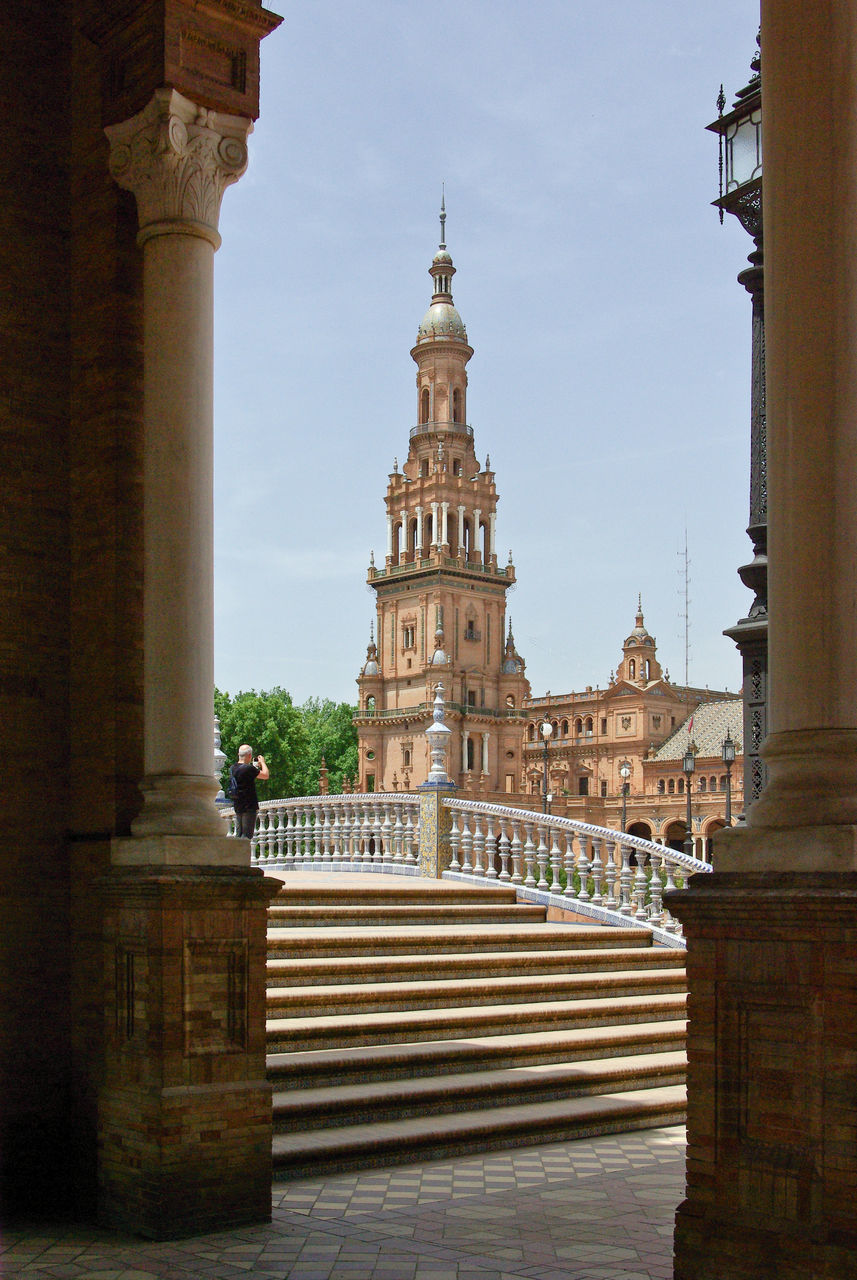 Man Standing At Staircase By Plaza De Espana Against Sky