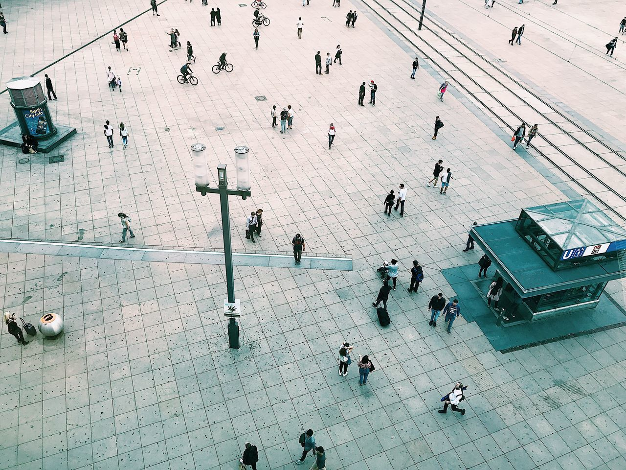 high angle view, large group of people, real people, tiled floor, lifestyles, women, men, day, walking, indoors, people, adult, adults only