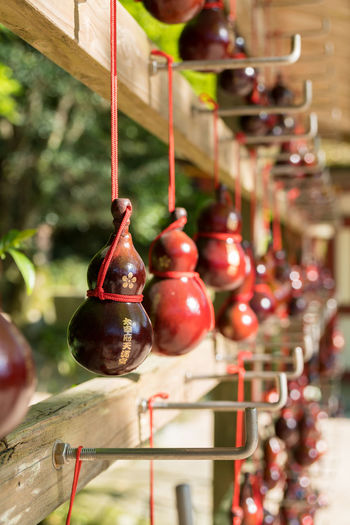 Japan Shrine Cherry Close-up Day Dazaifu Focus On Foreground Food Food And Drink Freshness Fruit Hanging Healthy Eating No People Outdoors Red Temple