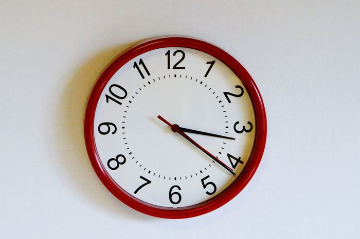 Wallclock Time Red Clock Telling Time Numbers Hanging Hanging On The Wall Taking Photos
