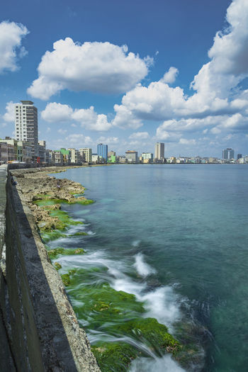 Havanascape Tide Low Tide Long Exposure Mood Waterfront Havana, Cuba Scenic Panoramic Havana Cityscape Skyline Motion Blur City Cityscape Urban Skyline Skyscraper Modern Water Apartment Sea Sky Architecture Residential District Tall - High Shore