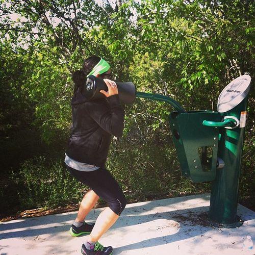 Squat press on the running trail. Running Trail Sanantonio SquatPress squat fitness outdoors