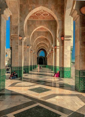 Profundity Arabic Architecture Arabic Morocco Arch Architectural Column Corridor Architecture Indoors  History Built Structure Travel Destinations