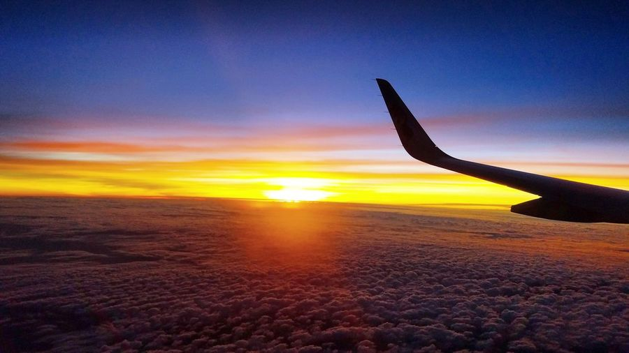Sunset Airplane Travel Beauty In Nature Sky Nature Flying Cloud - Sky Beauty Beautiful Sunset Beautiful Nature Awe Beauty In Ordinary Things No People First Eyeem Photo