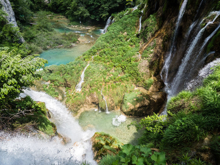 Croatia Hiking Beauty In Nature Flowing Flowing Water Forest High Angle View Motion Nature No People Outdoors Paradise Peaceful Plenty Plitvice National Park Pure Water Purity River Rock Scenics - Nature Stream - Flowing Water Tree Water Waterfall