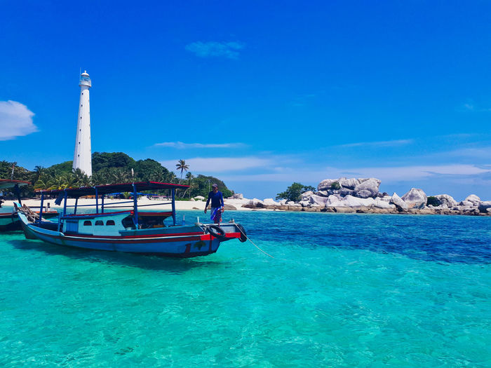 Hidden Paradise in Bangka . Bangka, Indonesia. Water Nautical Vessel Sea Transportation Mode Of Transportation Sky Blue Beauty In Nature Nature Scenics - Nature Waterfront Day Travel Turquoise Colored Idyllic Travel Destinations Incidental People Tranquil Scene Sunlight Outdoors EyeEm Best Shots EyeEmNewHere Nature Beauty In Nature EyeEm Selects