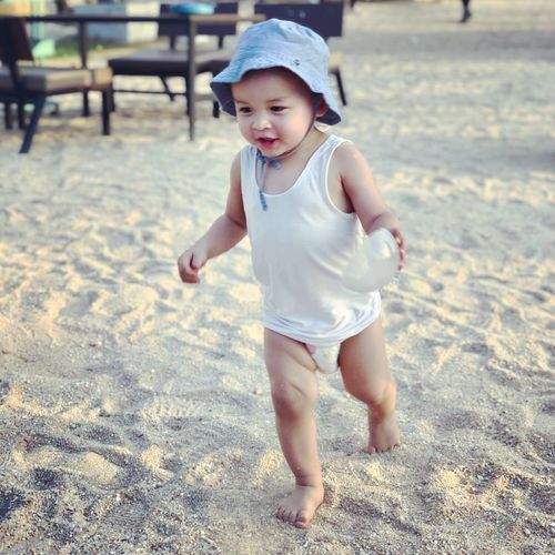 My happiness Mixed Race Beach Child Childhood One Person Full Length Innocence Real People Young Babyhood Cute Toddler  Outdoors Nature Day