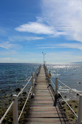 Sea Horizon Over Water Water Pier Outdoors Railing Day Nature Sky Beach Beauty In Nature No People