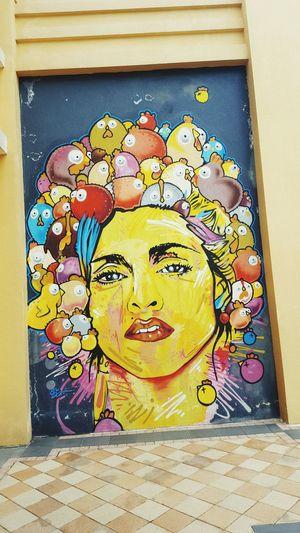 Discovery Bay Grafitti Multi Colored Woman Portrait Woman Face