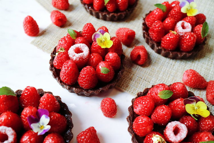 Close-up of tarts with red berries