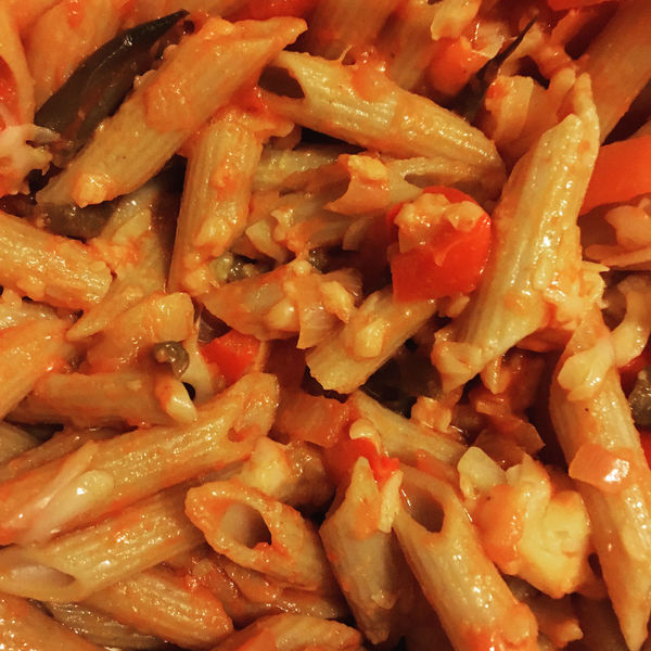 Close up of penne pasta with tomato and red pepper sauce Backgrounds Carbohydrates Close-up Comfort Food Cooked Extreme Close Up Food Freshness Full Frame Healthy Eating Indoors  Indulgence Large Group Of Objects Lunch Meal No People Pasta Ready-to-eat Red Peppers ShotoniPhone6s Temptation Tomato Sauce